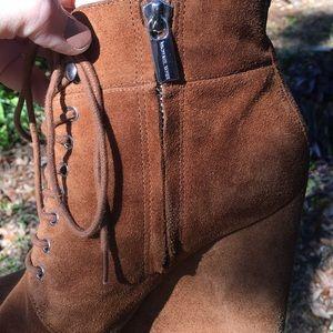 Michael Kors Shoes - Michael Kors Cognac Suede Wedge Laced Boots